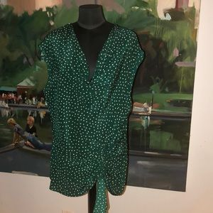 Anthropologie Green Silk Polka Dot Top